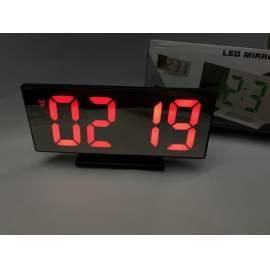 Fekete tükör kijelzős digitális ébresztő óra asztali hőmérő piros világítás
