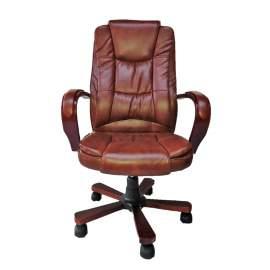 Brown wood ergonomic főnöki fotel irodai szék forgószék erős barna