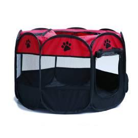 Kutya cica kisállat kennel fekhely utazó ágy összecsukható piros színben
