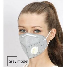 Készletről FFP2 védő maszk szürke szájmaszk aktívszenes szelepes porvédő