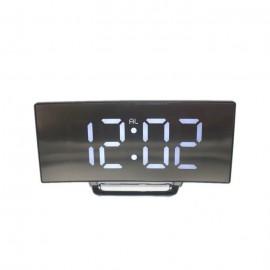 Ívelt tükör kijelzős LED ébresztőóra fekete-fehér
