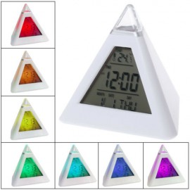 Piramis alakú színváltós ébresztőóra hőmérő