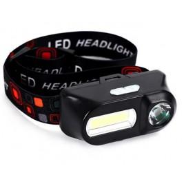 Akkumulátoros COB+XPE LED fejlámpa dupla fényű lámpa