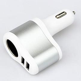 Autós töltő Szivargyújtós töltő elosztó 1-es 2 x USB aljzat