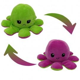 A Tik-Tok sztárjai: Kifordítható polip plüss vidám/mérges  zöld-lila