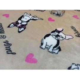 200x230cm barna francia bulldog kutya mintás puha takaró wellsoft ágytakaró