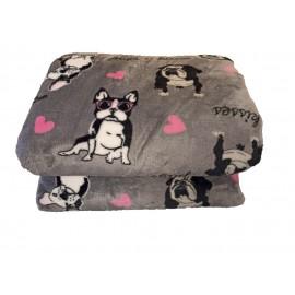 200x230cm Szürke francia bulldog kutya mintás puha takaró wellsoft ágytakaró