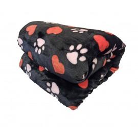 200x230cm Fekete szivecskés kutya mancs mintás puha takaró wellsoft ágytakaró