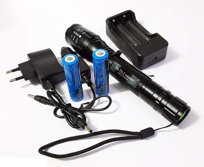T6 extra fényű erős fém házas akkumulátoros zseblámpa