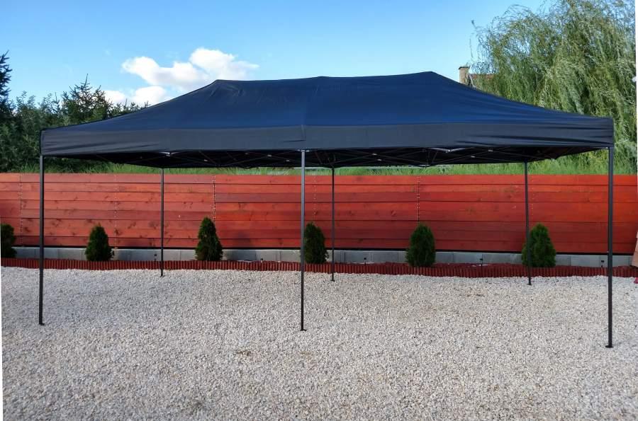 3x6 fekete rendezvény rally sátor árusító piaci horgász kerti pavilon 6x3