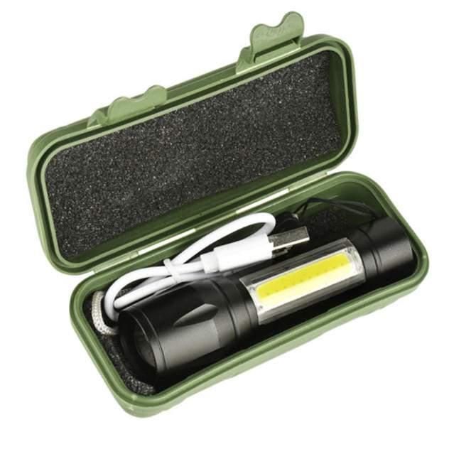 Nagy fényű akkus lámpa led zseblámpa dobozban