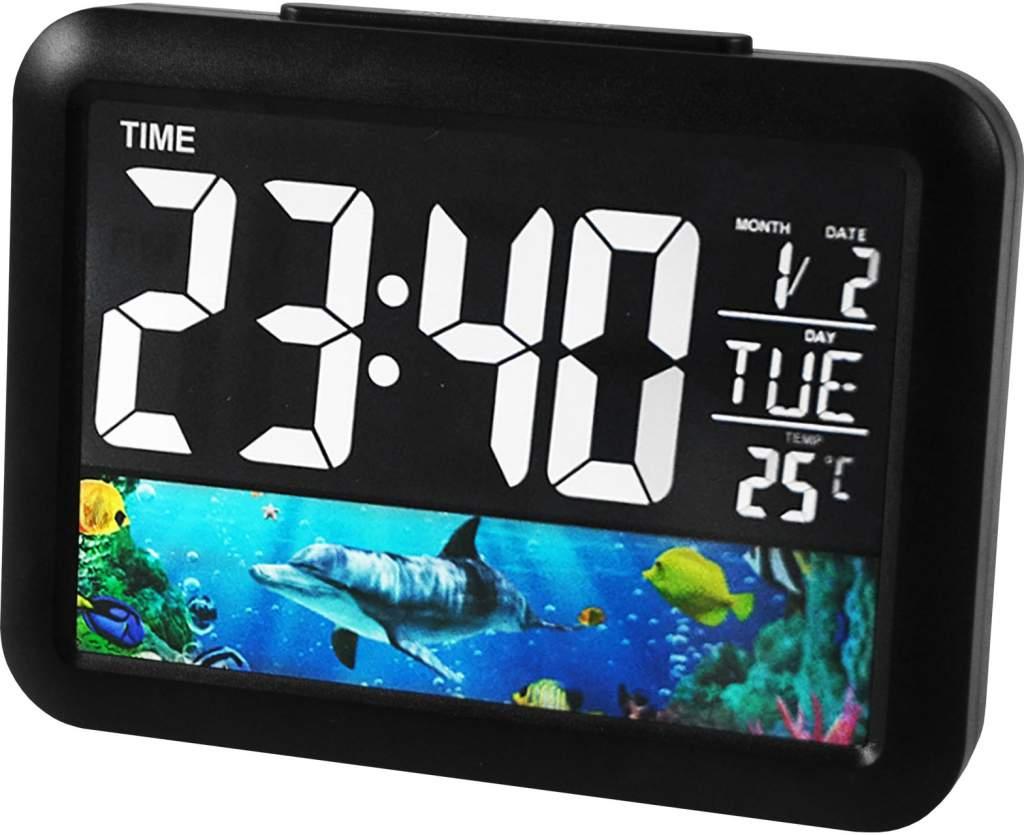 Színes Led kijelzős hálózati modern asztali óra GH-2000WJ