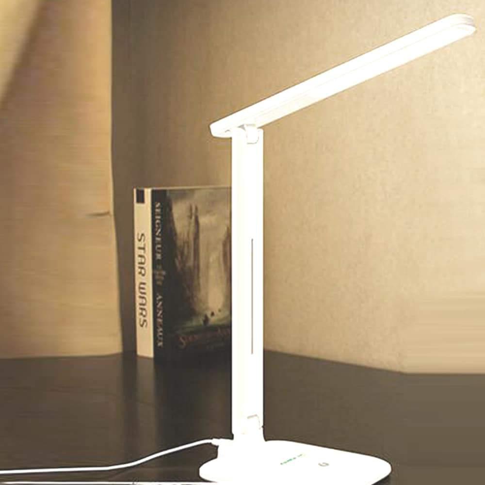 Fehér asztali és éjjeli lámpa akkus usb töltővel