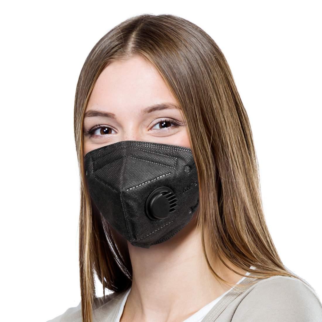 10db fekete FFP2 védő maszk szürke szájmaszk aktívszenes szelepes