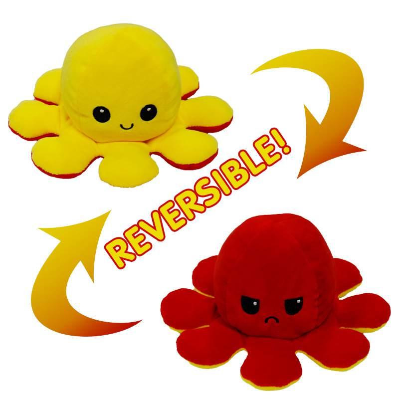 A Tik Tok sztárjai : Kifordítható polip plüss vidám/mérges piros-sárga