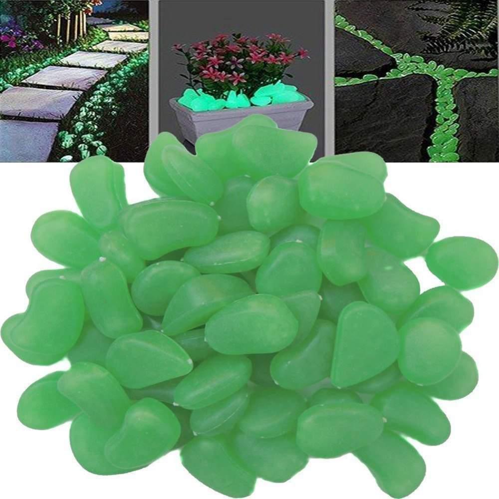 Sötétben világító zöld színű kavics - 20 db