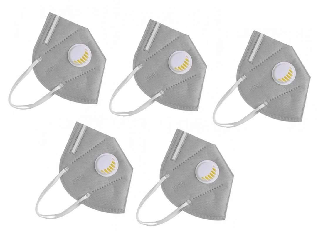 5db 5 rétegű szürke FFP2 védő maszk szürke szájmaszk aktívszenes szelepes
