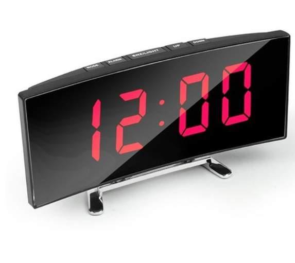 Ívelt tükör kijelzős LED ébresztőóra fekete-piros