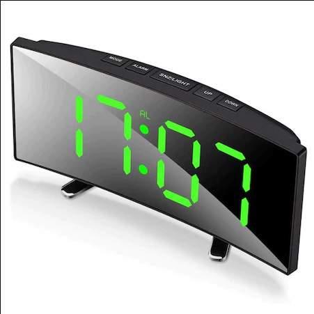 Ívelt tükör kijelzős LED ébresztőóra fekete-zöld óra